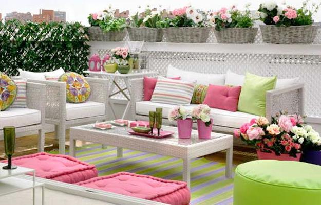 Bright Pink and Green Colors for Outdoor Home Decorating in .