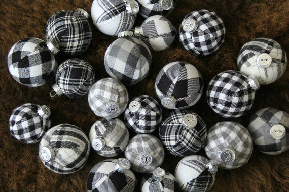Black & White Buffalo Plaid Christmas Ornaments. Jumbo Set. Modern .