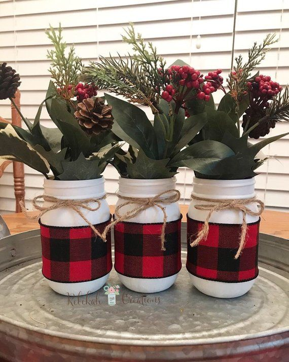 Buffalo Plaid Mason Jars, Farmhouse Mason Jars, Buffalo Plaid .