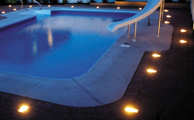 cool pool deck lights | Inground pool lights, Cool pools, Florida ho
