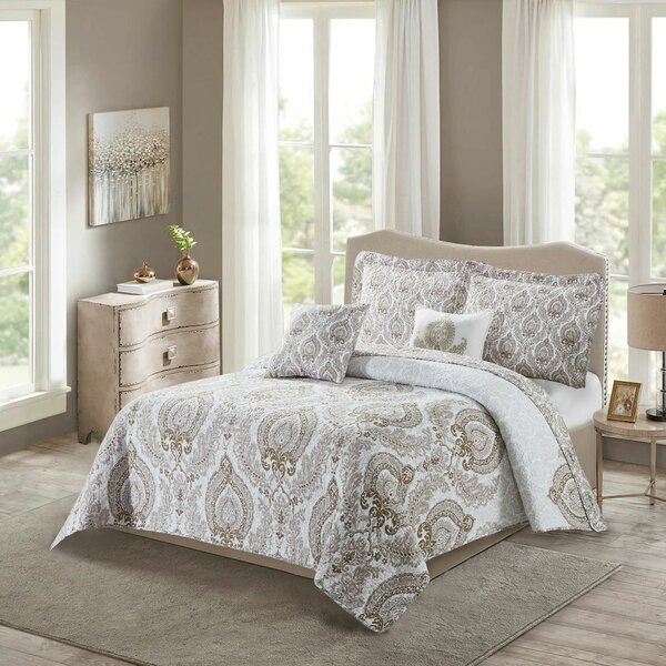 House of Hampton Maleah Heart Damask Reversible Quilted Bedspread .