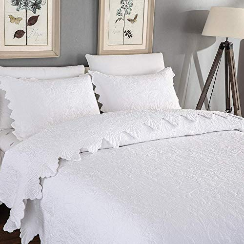 Brandream White Quilts Set King Size Bedspreads Farmhouse Bedding .