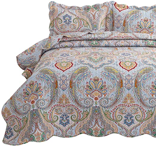 Amazon.com: Bedsure 3-Piece Bohemia Paisley Pattern Quilted .