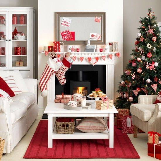 Scandi-style red and white living room | Christmas living rooms .