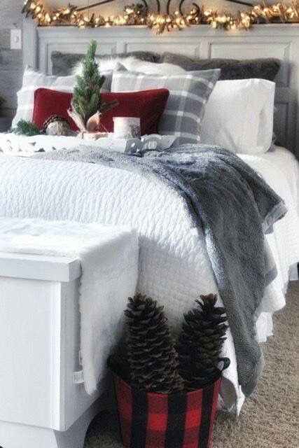 Bedroom Christmas decor | red and grey Christmas | | Christmas .