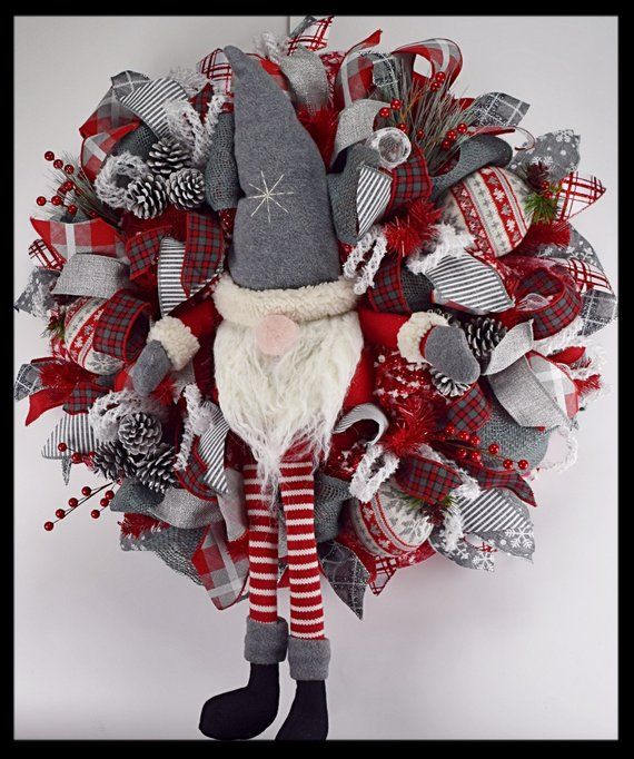 Charming Gray and Red Gnome Christmas Wreath, Mesh Wreath, Winter .