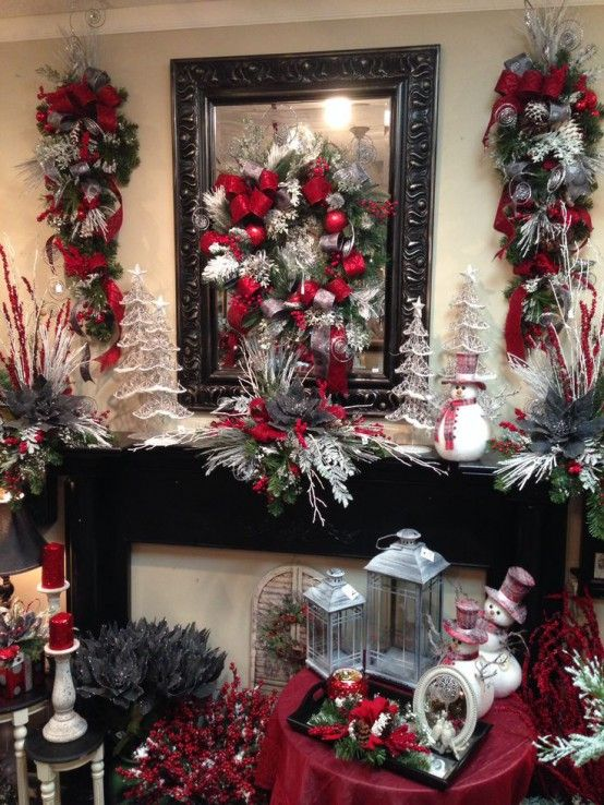 30 Stunning Red Christmas Decorations Ideas | Christmas mantels .