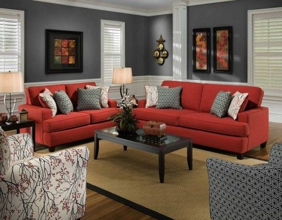 Comfy Living Room With Modern Stylish Red Sofa And White And Grey .