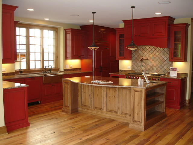 Rustic Red Kitchen - Tropical - Chicago - by Custom Corners L