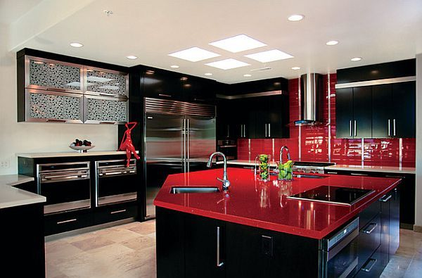 Red Kitchen Design Ideas, Pictures and Inspiration   Black kitchen .