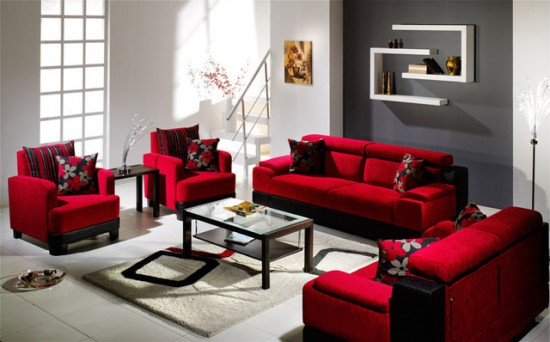 Decorating Living Rooms Design with Red Couch and Red Sofa .