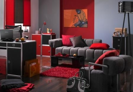 Grey and Red Living Room. LOVE! | Black living room, Grey and red .