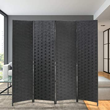 Amazon.com: Room Divider Wood Screen 4 Panel Wood Mesh Woven .