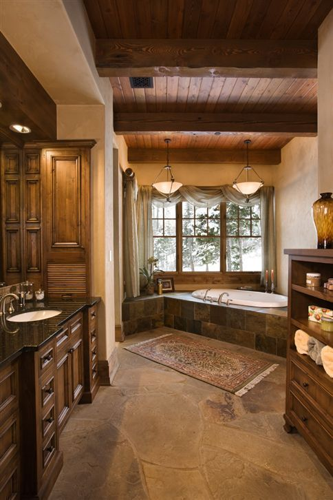 Luxury bathroom Rustic Interior Design for Lakeview Residence .