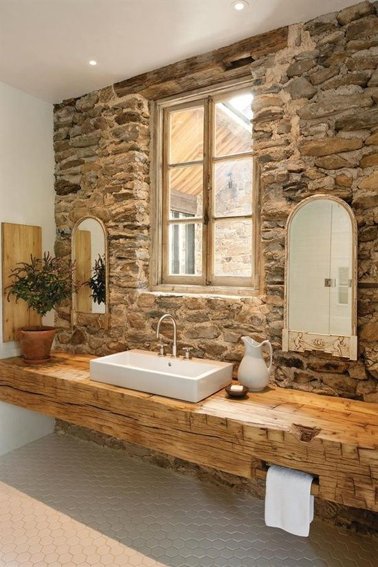 40 Rustic Bathroom Designs | Natural stone bathroom, Rustic .