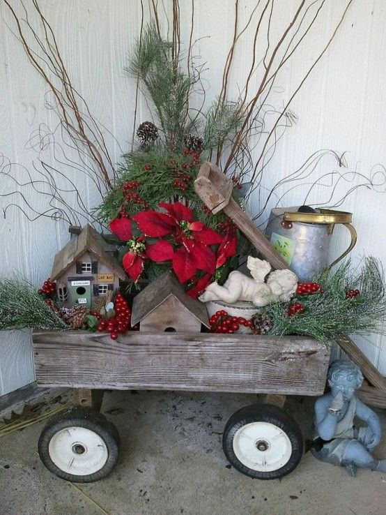40 Comfy Rustic Outdoor Christmas Décor Ideas | Christmas floral .