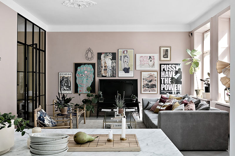 Scandinavian apartment with lots interesting decor and beautiful .