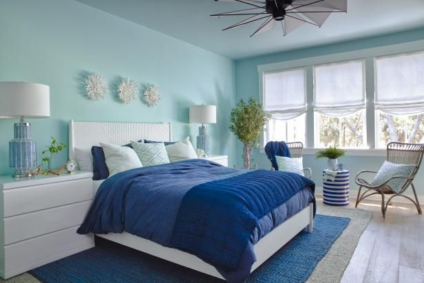 Find peace and serenity in this serene guest bedroom, a calm and .