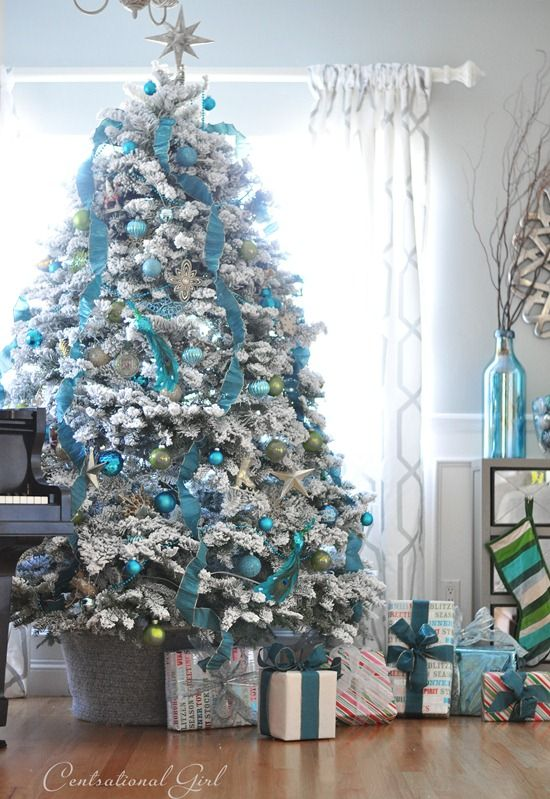White + Blue Christmas Tree | Turquoise christmas, Beautiful .