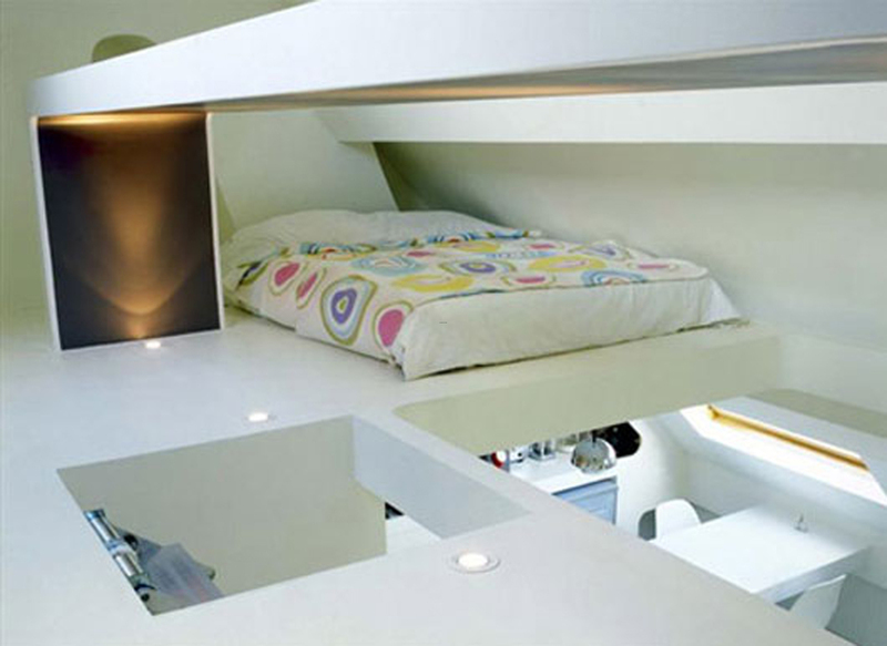 Small Decorative Space Saving Apartment Layouts Decor Loft Bedroom .