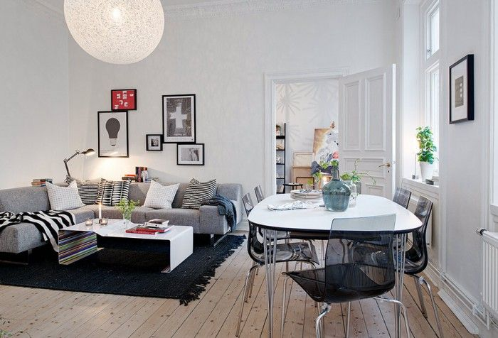 Swedish Apartment Boasts Exciting Mix of Old and New | Open space .