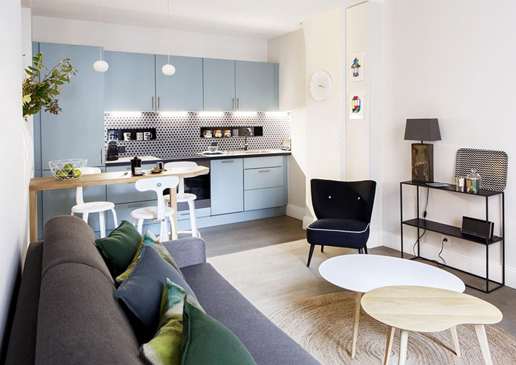 Cool small apartment in Latin quarter in Paris 〛 ◾ Photos .