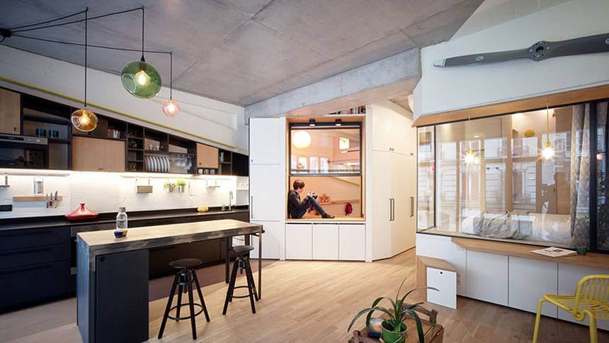 Paris garage converted into small home for family of four | TreeHugg