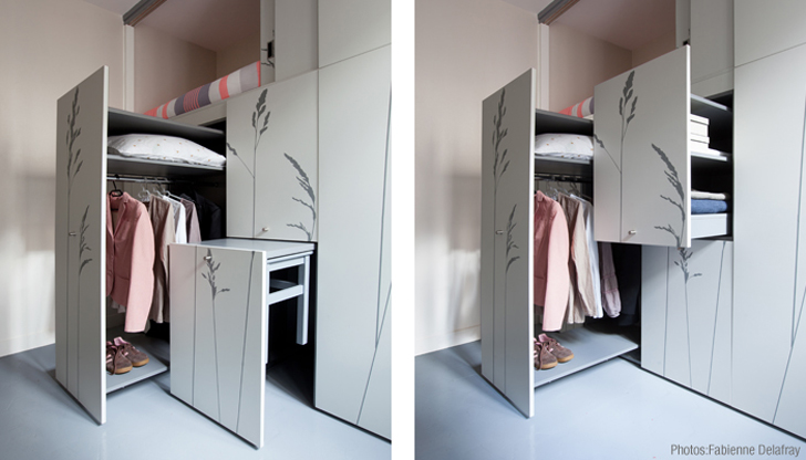 Tiny 86-Square-Foot Flat in Paris Transforms Like a Swiss Army Kni
