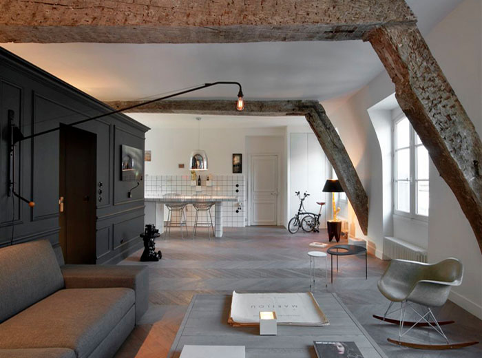 Small Renovated Attic Apartment In Paris With Functional Design .