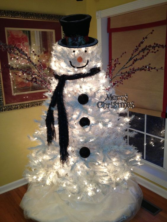 Clever White Christmas Tree Decorating Ideas | Snowman christmas .