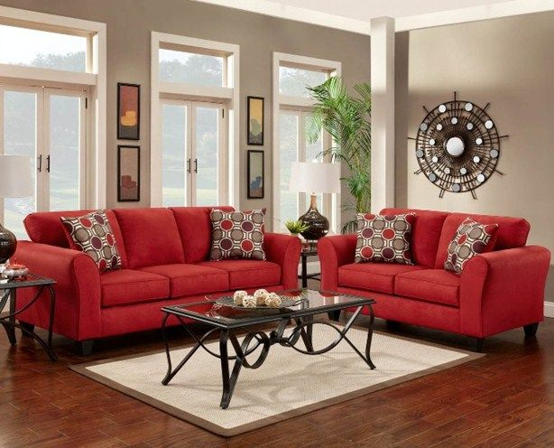 Red Sofa And Loveseat | Red couch living room, Red sofa living .