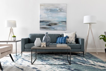 Aaron Steel Blue Sofa | Living Spac