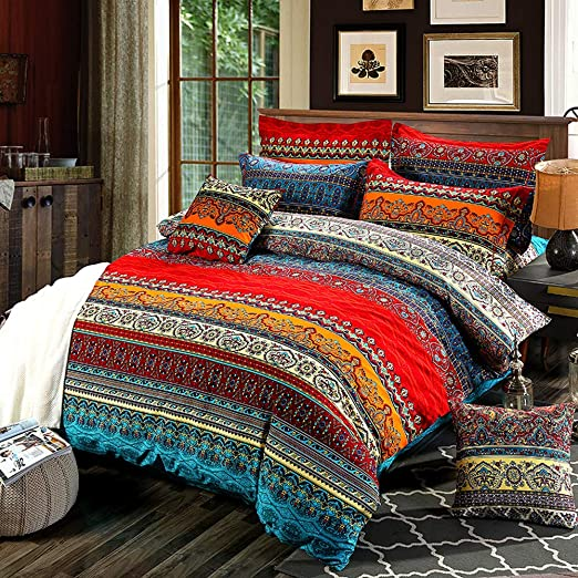 Amazon.com: Bohemian Duvet Cover Set Full Colorful Floral Boho .