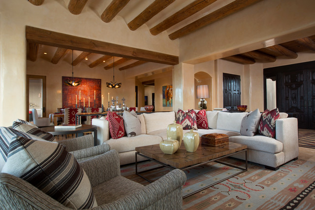 Contemporary Rustic Home in Santa Fe - Southwestern - Living Room .