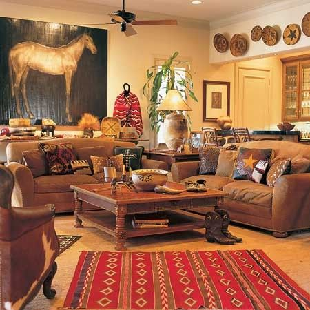 Comfy southwest | Western living rooms, Western living room decor .
