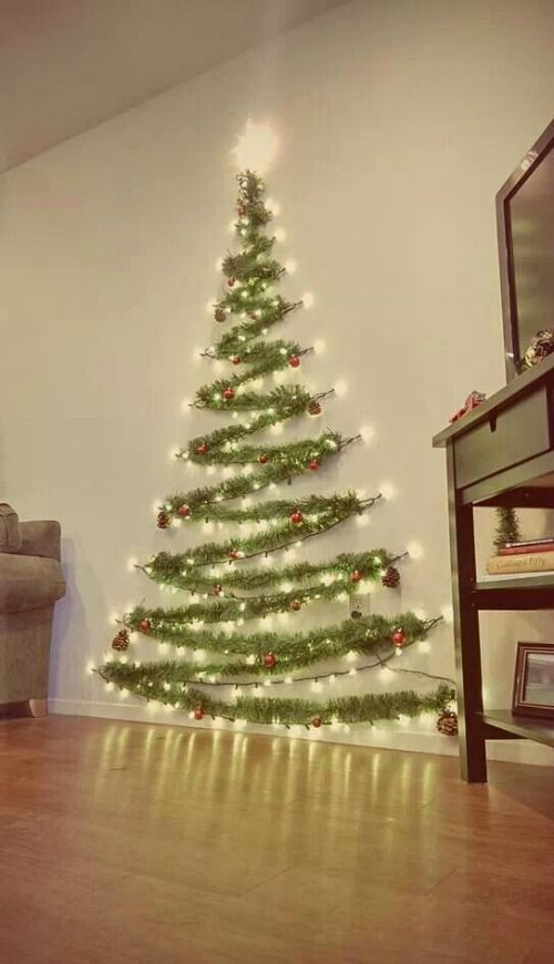 Space Saver Wall Christmas Tree #Christmas #Decoration (With .