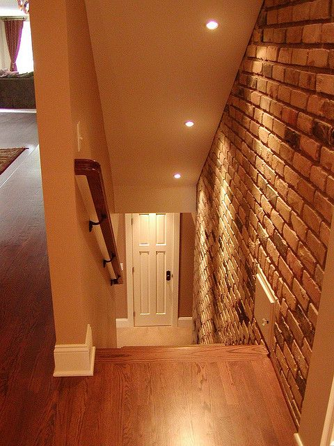 down basement stairs after )) | Basement lighting, Basement stairs .