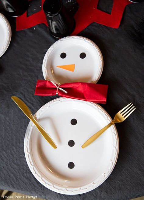 Cool Snowman Table Decor w. Household Items - Press Print Party .