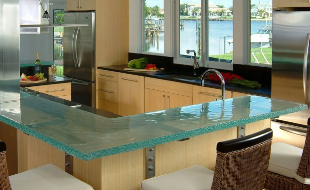 19 Adorable & Stylish Glass Kitchen Countertop Design Ide