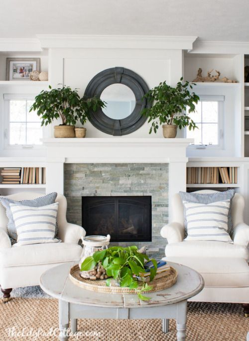balanced fire place / symmetrical | Home living room, Small lake .