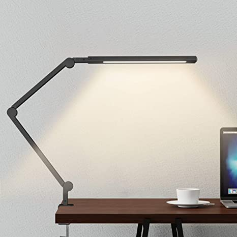 Swing Arm Lamp, LED Desk Lamp with Clamp, 9W Eye-Care Dimmable .