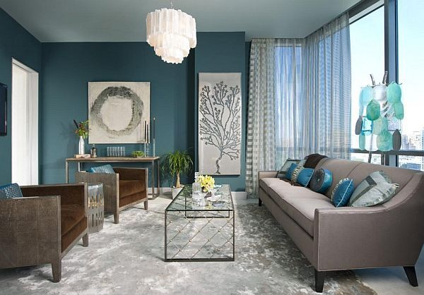 Turquoise interior design inspiration rooms | Teal living rooms .