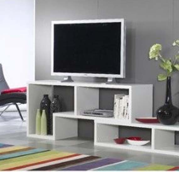 Modern White Tv Stand Design Ideas With Grey Wall Paint Color For .