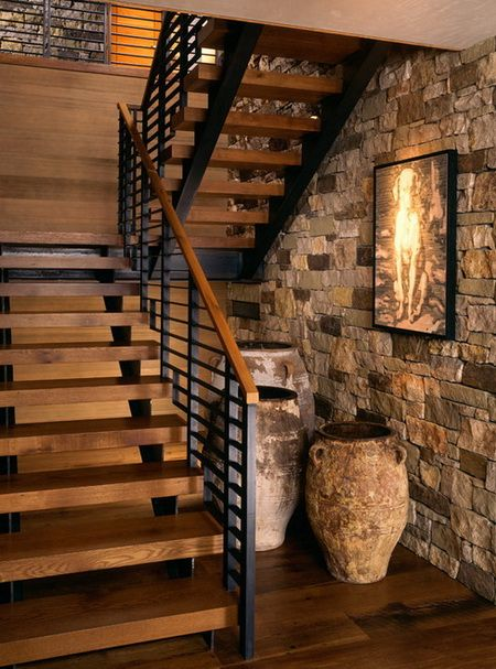 50 Amazing And Unique Staircase Design Ideas | Rustic stairs .