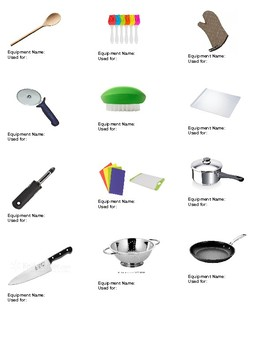 Kitchen Equipment/Tools Names and Usage by FAMILY to FOOD | T