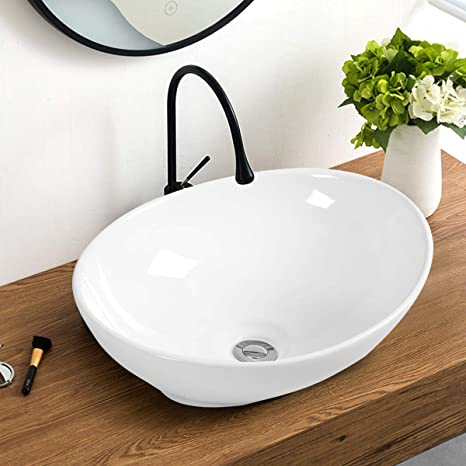 Giantex Vessel Sink 16x13 Inch Basin Porcelain W/Pop Up Drain Oval .