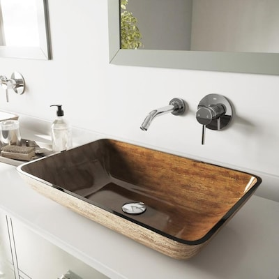 VIGO Vessel Sinks Light Wood Glass Vessel Rectangular Bathroom .