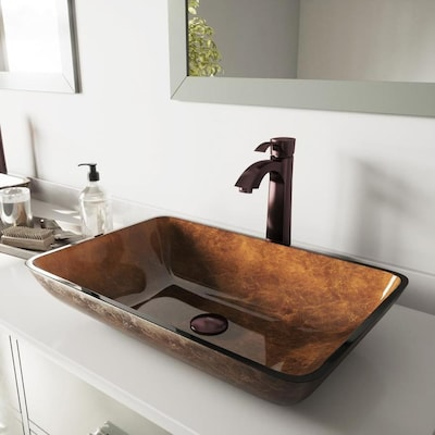 VIGO Vessel Sinks Oil Rubbed Bronze Glass Vessel Rectangular .