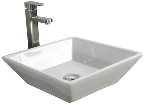 "Tuscany® Aria 16"" x 16"" White Porcelain Vessel Sink at Menards"