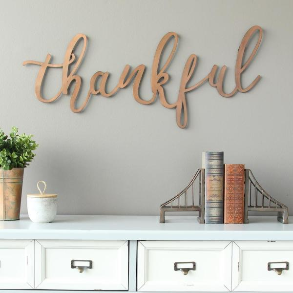 "Stratton Home Decor Bronze ""thankful"" Script Decorative Sign Wall ."